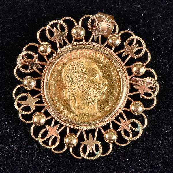 3f40d9b73da Pendente com reversibilidade para broche encastroado com moeda  Austro-húngara no valor