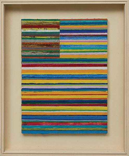 """GONÇALO IVO (1958). """"Rio do Oriente"""", têmpera s/ tela de linho com aplicações de prata em folha, 46 X 33. Assinado, datado (2004) e localizado (Paris) no verso. Acompanha certificado de autenticidade emitido pelo artista. Reproduzido com foto no catálogo."""
