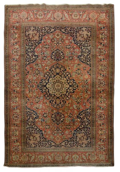 Raro tapete Kashan (circa 1890), medindo: 2,12 X 1,39 = 2,94m². Reproduzido com foto no catálogo.