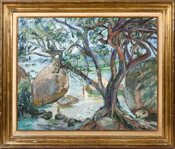 """NIVOULIÉS DE PIERREFORT, MARIE (1879-1968). """"Dia de Sol em Paquetá - RJ"""", óleo s/ tela , 65 X 80. Assinado no c.i.d. Reproduzido com foto no catálogo."""