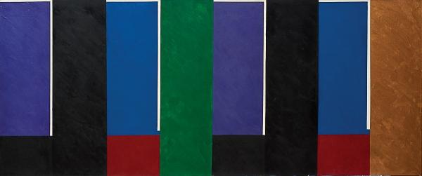 """EDUARDO SUED (1925). """"Composição"""", óleo s/ tela, 90 x 210. Assinado e datado (2001) no verso. Acompanha certificado. Reproduzido com foto no catálogo."""