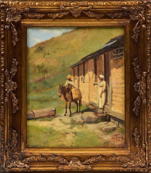 """ANTONIO PARREIRAS (1860-1937). """"A Caminho da Roça"""", óleo s/ tela, 41 X 32. Assinado e datado (1903) no c.i.d. Reproduzido com foto no catálogo."""