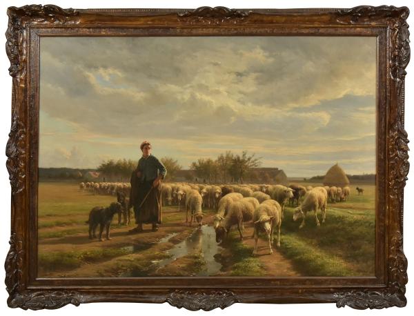 """JEAN FERDINAND CHAIGNEAU (1830-1906). """"Bergère Gardant Ses Moutons"""", óleo s/ tela, 115 X 160. Assinado no c.i.e. Artista citado no Benezit. Reproduzido com foto no catálogo."""