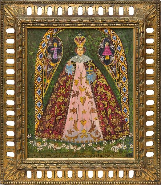 """ROSINA BECKER DO VALLE (1914-2000). """"O Senhor Bom Jesus de Praga"""", óleo s/ tela, 48 x 38. Assinado e datado (1974). Cachet no verso da """"Galerie Ipanema"""". Reproduzido com foto no catálogo."""