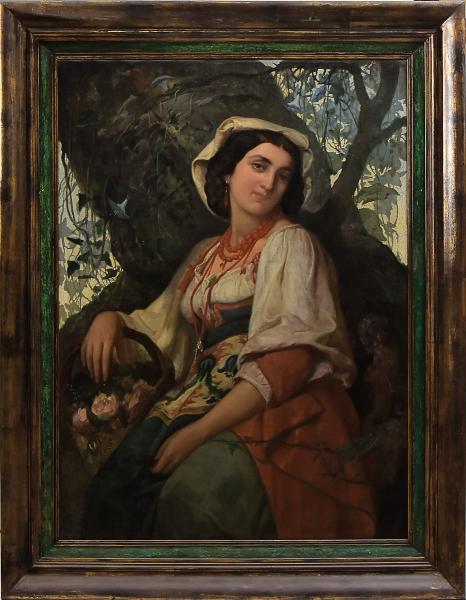 """MIGUEL NAVARRO Y CANIZARES (ESPANHA 1834-1913). """"A Napolitana com Cesto de Flores"""", óleo s/tela, 100 x 72. Assinado, datado (1867) e localizado (Roma) no c.i.d. Este quadro pertenceu à famosa coleção de """"Arthur Martins Sampaio"""". Reproduzido com foto no catálogo."""