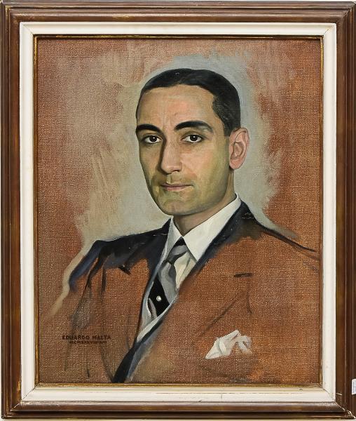 """EDUARDO MALTA (PORTUGAL, 1900-1967). """"Portrait do Visconde de Carnaxide (Famoso Historiador e Escritor Português)"""", óleo s/ tela, 61 X 50, Assinado, datado (1938) e localizado (Rio) no c.i.e. Acompanha o livro """"Do Meu Ofício de Pintar"""", editado em 1935, com dedicatória ao """"Visconde de Carnaxide (Rio, junho de 1937)"""". Reproduzido com foto no catálogo."""