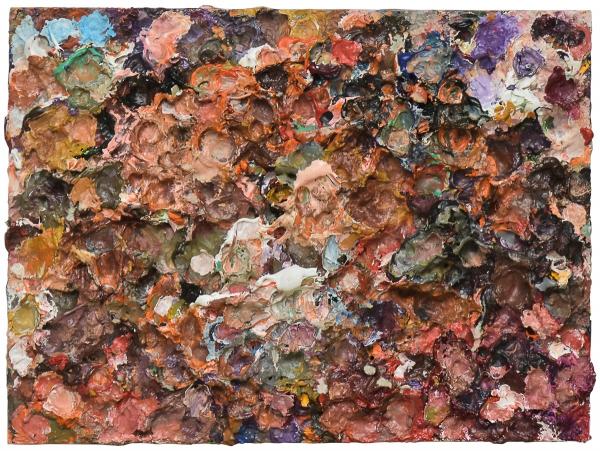 """JUAREZ MACHADO (1941). """"Palette"""", óleo s/ cartão, 24 x 32. Assinado, datado (1993) e localizado (Paris) no verso. Reproduzido com foto no catálogo."""