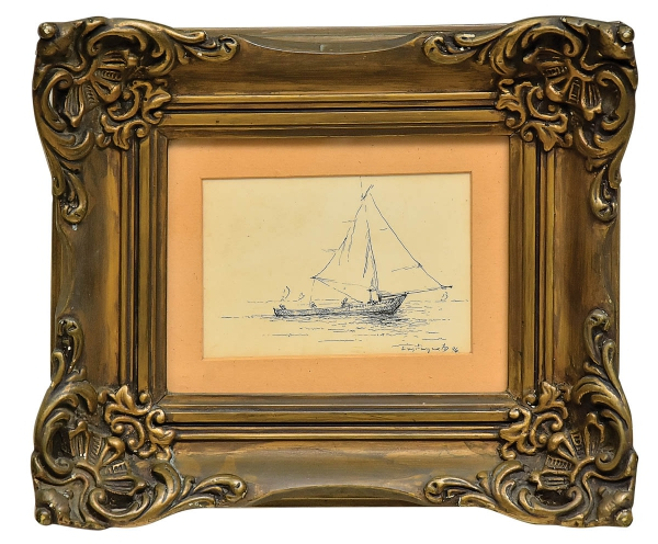 """CASTAGNETO, GIOVANNI BATTISTA (1851-1900). """"Chalupa com Pescadores"""", nanquim, 10 X 15. Assinado e datado (1896) no c.i.d. Reproduzido com foto no catálogo."""