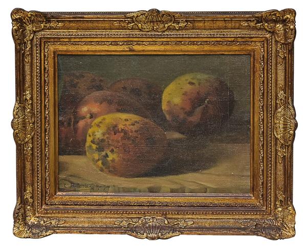 """BALLIESTER, CARLOS (1870-1927). """"Mangas Sobre a Mesa"""", óleo s/ cartão, 23 x 31. Assinado, datado (1904) e localizado (Rio) no c.i.e. Reproduzido com foto no catálogo."""