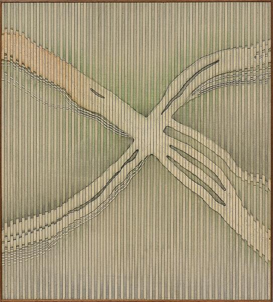 """ABRAHAM PALATNIK (1928). """"Sem Título"""", óleo s/ madeira, 69 X 61,5. Assinado e datado (2001) no verso. Reproduzido com foto no catálogo."""
