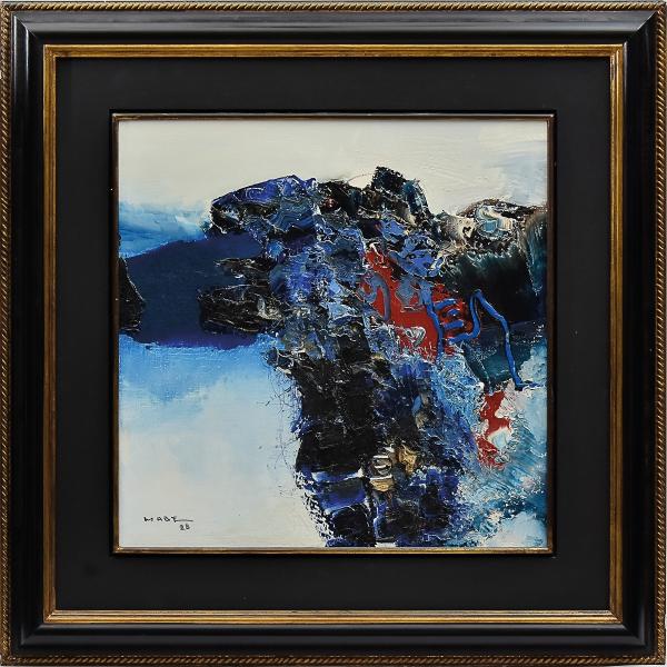 """MABE, MANABU (1924-1997). """"Composição"""", óleo s/ tela, 51 X 51. Assinado e datado (1988) no c.i.e. e no verso. Reproduzido com foto no catálogo."""