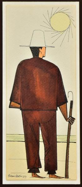 """ALDEMIR MARTINS (1922-2006). """"Pescador na Beira da Praia"""", aquarela, 33 X 13. Assinado e datado (1987) no c.i.e. Reproduzido com foto no catálogo."""