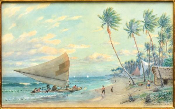 """OTTO BUNGNER (1890-1965). """"Chegada da Pesca na Praia da Piedade - Recife, PE"""", aquarela, 26 X 43. Assinado e localizado no c.i.d. (Década de 30/40). Reproduzido com foto no catálogo."""