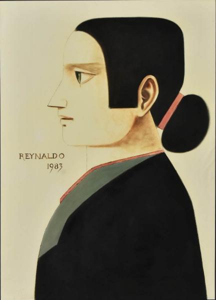 """REYNALDO FONSECA (1925). """"Mulher de Perfil com Fita Vermelha no Cabelo"""", óleo s/ papel (pincel seco), 74 X 50. Assinado e datado (1983) no parte esquerda. Reproduzido com foto no catalogo."""