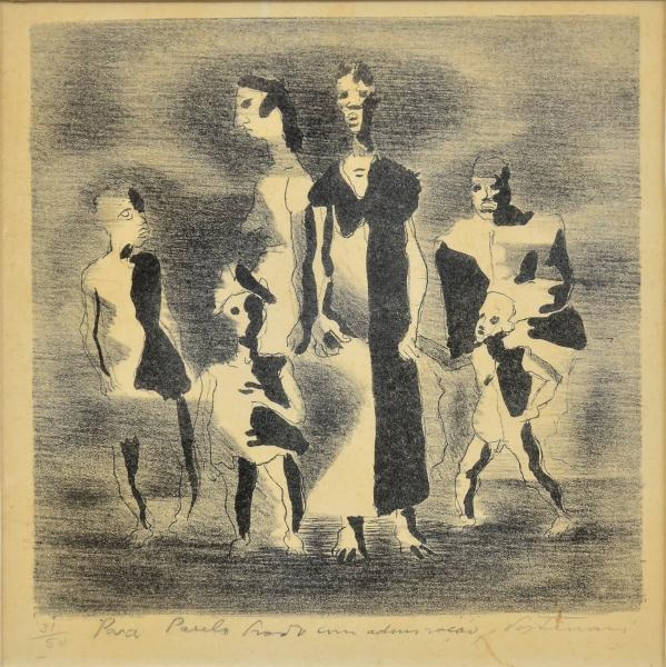 """PORTINARI, CÂNDIDO (1903-1962). """"Retirantes"""", água-forte, 21 X 20. Assinado e dedicado no c.i.d. ao """"Dr. Paulo Prado 1869-1943"""" (advogado, poeta, grande mecenas e incentivador cultural paulista, teve importante e expressiva participação na """"Semana de Arte Moderna de 1922 em São Paulo"""")."""