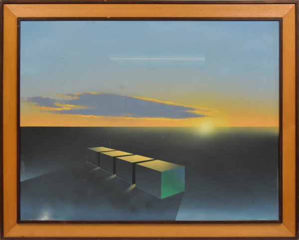 """IVAN FREITAS (1932). """"Cubos no Infinito"""", óleo s/ eucatex, 85 X 110. Assinado no c.i.d.e datado (1980) no verso. Apresenta cachet da tradicional """"Galeria Contorno"""". Reproduzido com foto no catálogo."""
