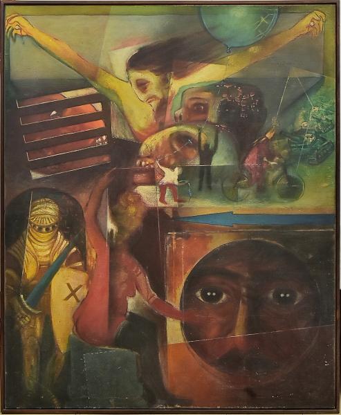 """BENJAMIN SILVA (1927). """"Eu, Ele e os Outros"""", óleo s/ tela, 162 x 130. Assinado na parte inferior e datado (1966) no verso."""
