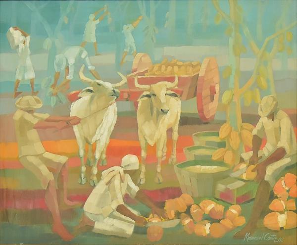 """MANOEL COSTA (1943). """"Colheita de Cacau"""", óleo s/ eucatex, 50 X 60. Assinado e datado (1982) no c.i.d. e no verso."""