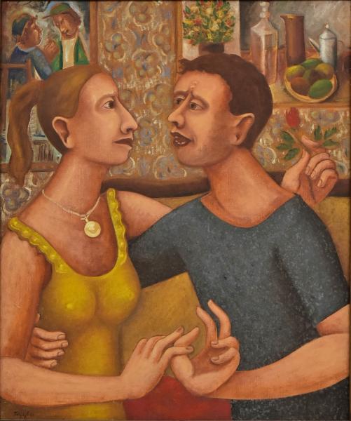 """TOBIAS MARCIER (1948-1982). """"Namorados"""", óleo s/ tela, 73 x 60. Assinado e datado (1981) no c.i.e. Reproduzido com foto no catálogo."""