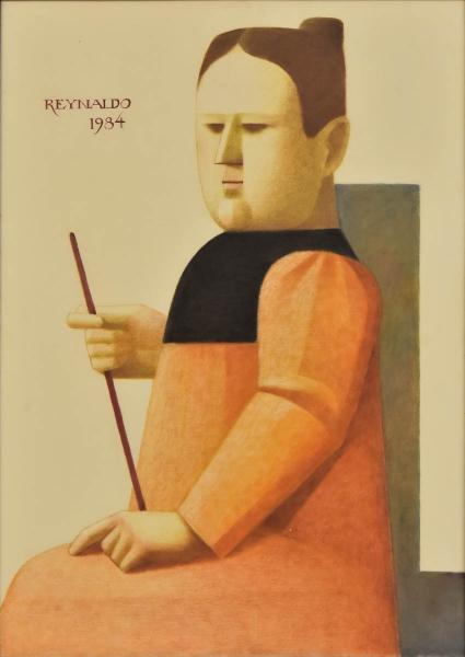 """REYNALDO FONSECA (1925). """"A Regente com a Batuta"""", óleo s/ papel (pincel seco), 70 X 50. Assinado e datado (1984) no c.s.e. Reproduzido com foto no catalogo."""