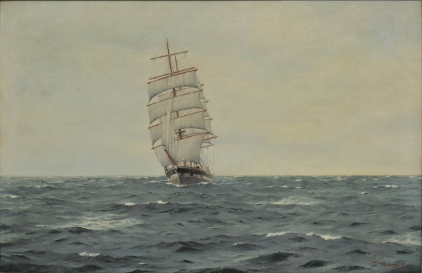 """HORATION GERARDO GARCIA (CHILE, 1878-1942). """"En Pleno Oceano La Fragata Inglesa"""", óleo s/ tela, 55 X 80. Assinado no c.i.d. Reproduzido com foto no catálogo."""