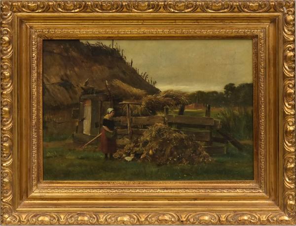 """CORNELIS JOHANNES DE VOGEL (ESCOLA FLAMENGA, 1824-1879). """"Camponesa e Galináceos na Fazenda"""", óleo s/ tela, 30 X 42. Assinado no c.i.e. Apresenta inscrições com dedicatória no verso. Artista citado no Benezit. Reproduzido com foto no catálogo."""