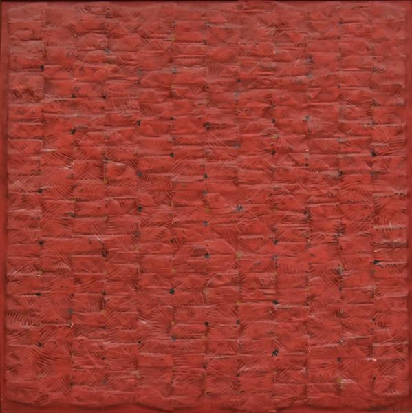"""WAKABAIASHI, KAZUO (1931). """"Composição em Vermelho"""", óleo s/ tela, 55 X 55. Assinado no c.i.d. Reproduzido com foto no catálogo."""