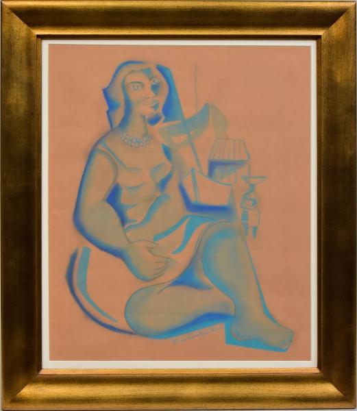"""DI CAVALCANTI, EMILIANO (1897-1976). """"Mulata Sentada"""", guache, 61 X 50. Assinado e datado (1954) no centro. Reproduzido com foto no catálogo."""