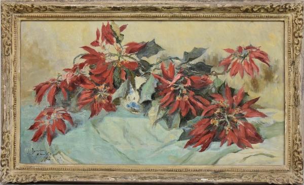 """GOTUZZO, LEOPOLDO (1887 - 1983). """"Asa de Arara sobre a Mesa"""", óleo s/ tela, 61 X 110. Assinado e datado (1950) no c.i.e. e no verso. Reproduzido com foto no catálogo."""