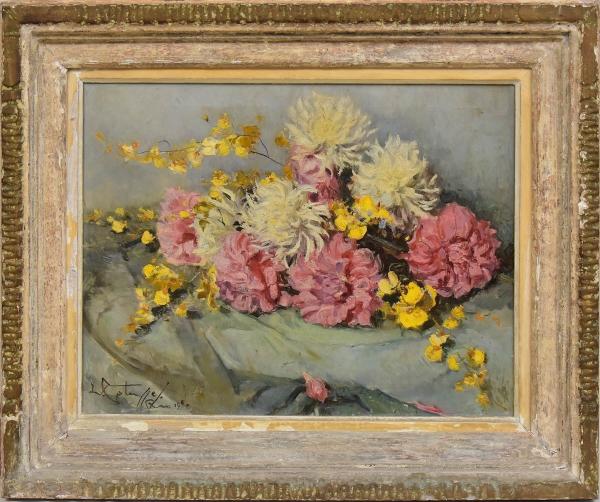 """GOTUZZO, LEOPOLDO (1887 - 1983). """"Dálias"""", óleo s/ tela, 50 X 65. Assinado e datado (1950) no c.i.e. e no verso. Reproduzido com foto no catálogo."""