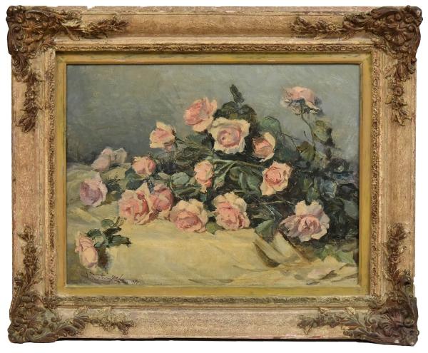"""GOTUZZO, LEOPOLDO (1887 - 1983). """"Rosas"""", óleo s/ tela, 50 X 65. Assinado e datado (1950) no c.i.e. Reproduzido com foto no catálogo."""