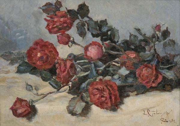 """GOTUZZO, LEOPOLDO (1887 - 1983). """"Rosas Vermelhas"""", óleo s/ tela, 33 X 46. Assinado e datado (1950) no c.i.d. Reproduzido com foto no catálogo."""