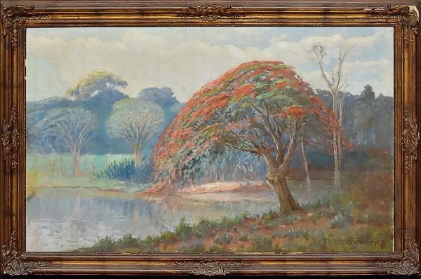 """LEVINO FANZERES (1884-1956). """"Flamboyant Florido Próximo ao Riacho"""", óleo s/ tela, 72 X 115. Assinado no c.i.d. Reproduzido com foto no catálogo."""