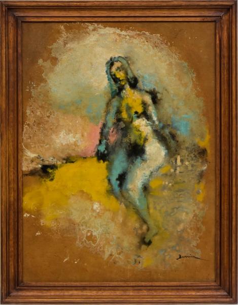 """BARRICA (CEARÁ, 1908-1993). """"Nú"""", óleo s/ eucatex, 60 X 44. Assinado no c.i.d. Reproduzido com foto no catálogo."""