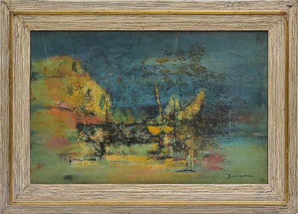 """BARRICA (CEARÁ, 1908-1993). """"Barcos e Pescadores no Porto"""", óleo s/ tela colado no cartão, 46 X 72. Assinado no c.i.d. Reproduzido com foto no catálogo."""