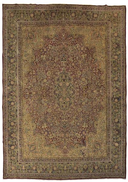 Raríssimo tapete Kirman Yazd Thousand Flowers (circa 1870), medindo: 4,00 X 2,95 = 11,80m². Exemplar