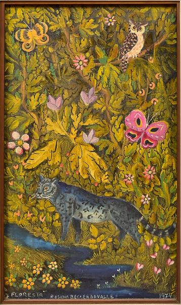 """ROSINA BECKER DO VALLE (1914-2000) """"A Floresta"""", óleo s/tela, 41 x 24. Assinado no c.i.e. e"""