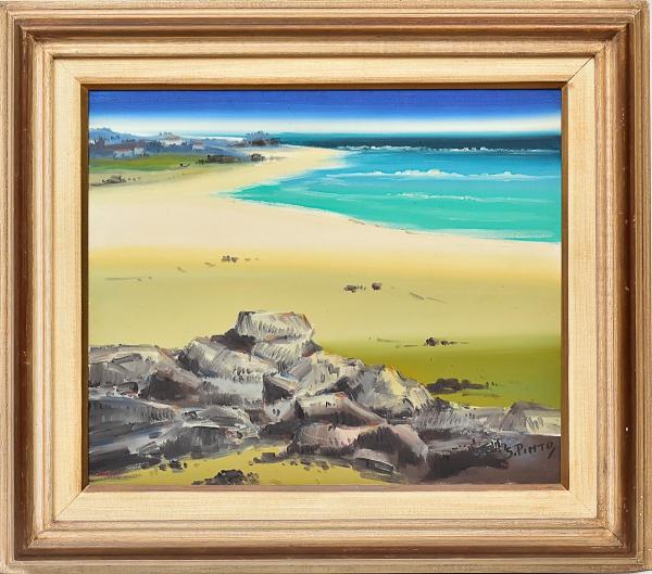 """SYLVIO PINTO (1918-1997). """"Canto de Praia"""", óleo s/tela, 46 x 56. Assinado c.i.d. Coleção"""