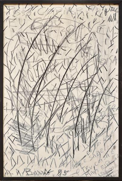 """BARRIO, ARTUR (1945). """"Posso Copiar, Eu Sou Jovem"""", crayon sobre tela, 81 x 54. Assinado e d"""