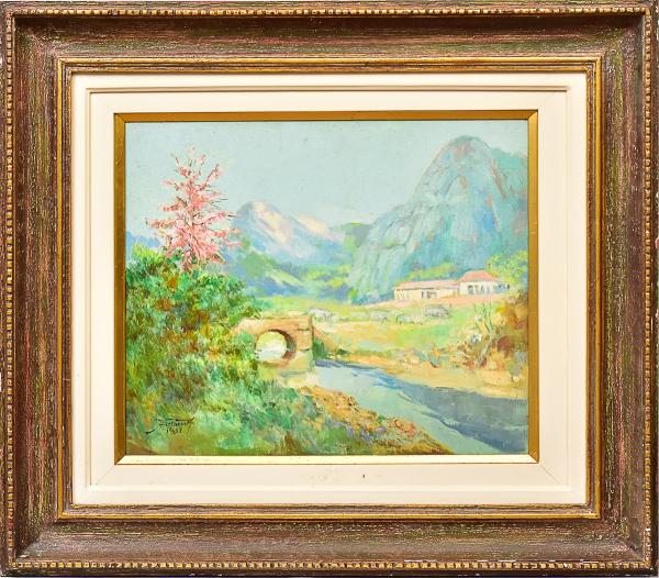 """ARMANDO VIANNA (1897-1992). """"Paisagem de fazenda com ponte e riacho no Interior do Estado do Ri"""