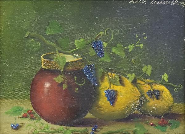 """FARID ZACHARIAS (1936). """"Jarro, Melão e Uvas"""", óleo s/ tela, 16 x 22. Assinado e datado (199"""