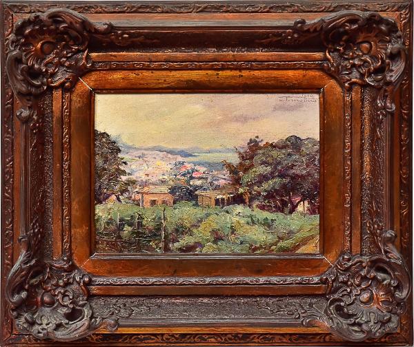 """JOÃO TIMÓTEO DA COSTA (1879-1932). """"Panorama com Casrios do Alto do Rio de Janeiro"""", óleo s/"""