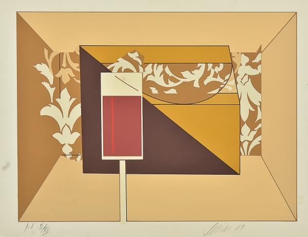 """SCLIAR, CARLOS (1920-2001). """"Cálice, Cubo e Florões"""", serigrafia, 34 X 46. Assinado e datado"""