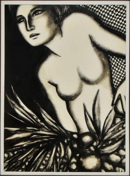 """FARNESE DE ANDRADE (1926-1996). """"Nú e Frutos"""", nanquim aguado, 70 X 46. Assinado e datado (1"""