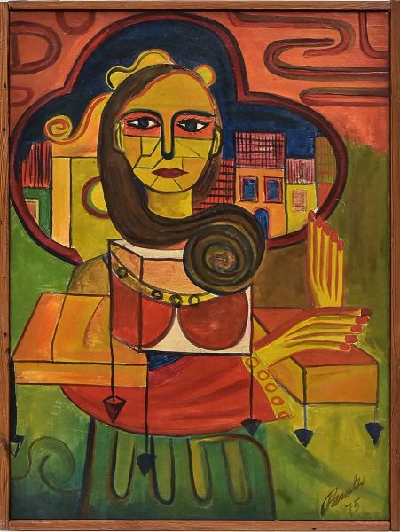 """PERICLES (BRASIL-SÉC. XX). """"Sem Título"""", óleo s/ tela, 70 X 50. Assinado e datado (1975) n"""