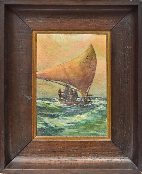"""RODOLFO WEIGEL (1907-1987). """"Jangadeiros em Alto Mar no Ceará"""", óleo s/ tela colado na madei"""