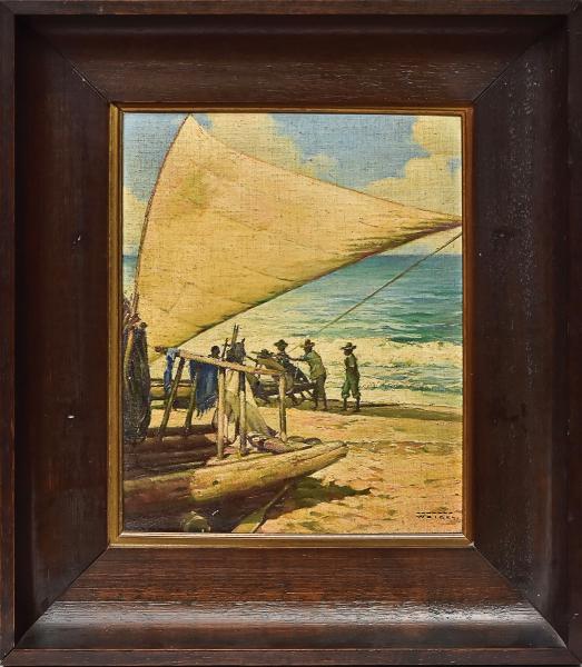 """RODOLFO WEIGEL (1907-1987). """"A Chegada da Pesca de Jangadeiros em Praia do Ceará"""", óleo s/ t"""