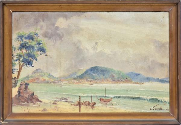 """J. CARVALHO (CEARÁ-1900). """"Paisagem com Canto de Praia em Niterói - RJ"""", óleo s/ tela, 32 X"""