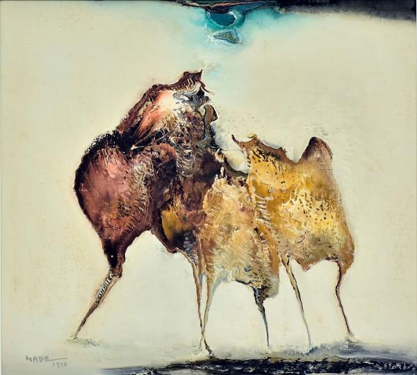 """MABE, MANABU (1924-1997). """"Figuração do Imaginário"""", óleo s/ tela, 51 X 56. Assinado e datad"""