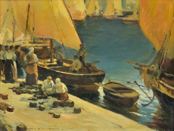 """KAROL KOSSAK (1895-1968). """"A Chegada da Pesca"""", óleo s/ tela, 35 X 45. Assinado no c.i.e."""
